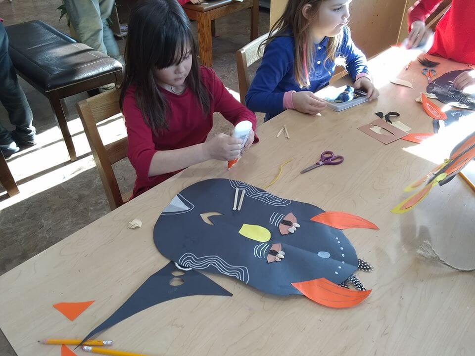 LSA students working on their African mask art projects