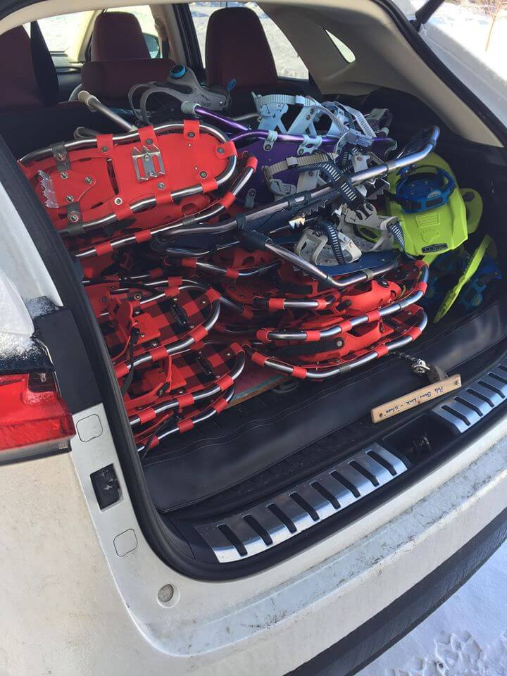 Snowshoes in the back of a car